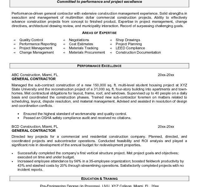 construction management resume objectives job sample resumes ...