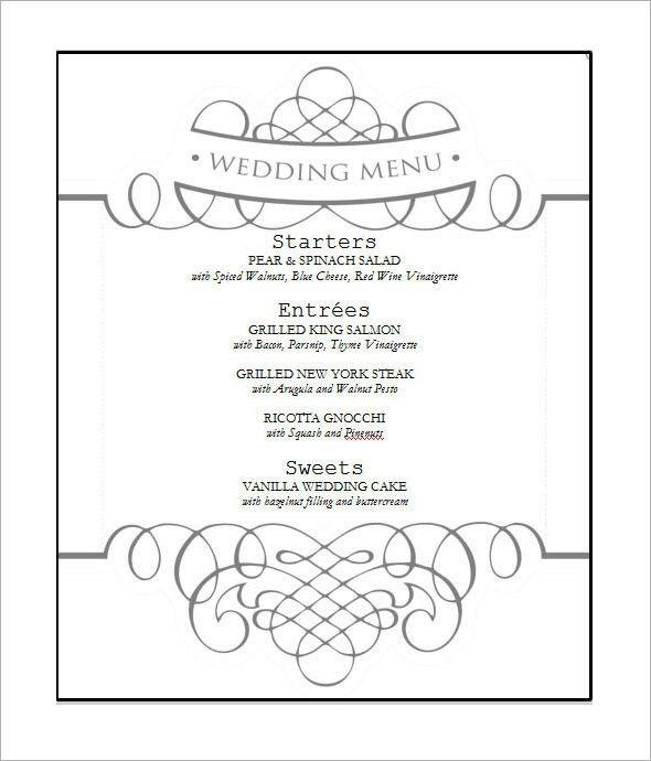 Free Wedding Menu Template | Wedding | Pinterest | Wedding menu ...