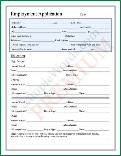 11 Sample Of Application Sheet | applicationsformat.info