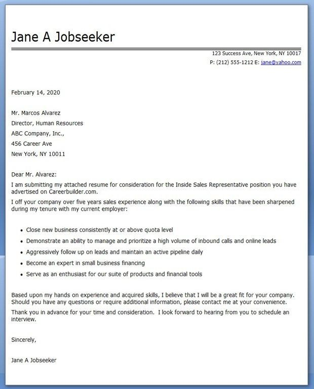 Sales Representative Cover Letter Example Medical Cover Letter in ...