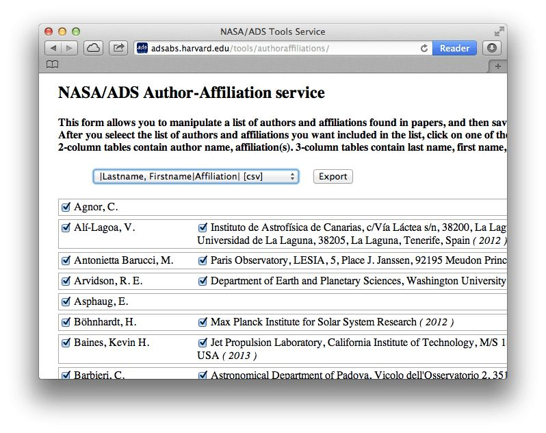 How to find author names and affiliations in NASA ADS