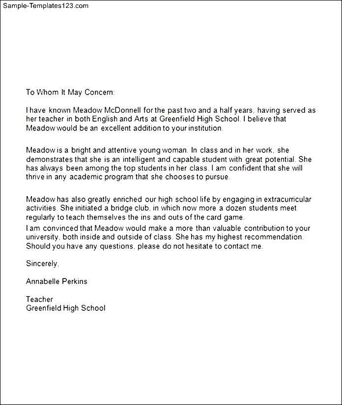 Letter Of Recommendation For High School Student Samples - Resume ...