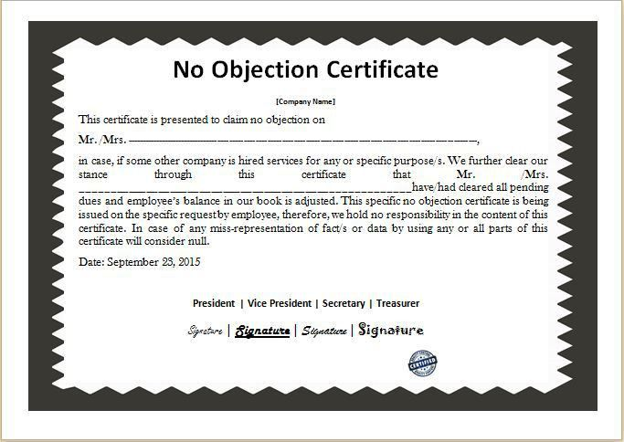 No Objection Certificate Template DOWNLOAD at http://www ...