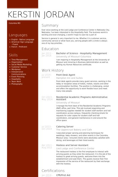 Front Desk Agent Resume samples - VisualCV resume samples database