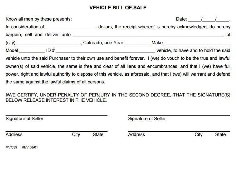 Free Colorado Vehicle Bill of Sale Form 2 | PDF Template | Form ...