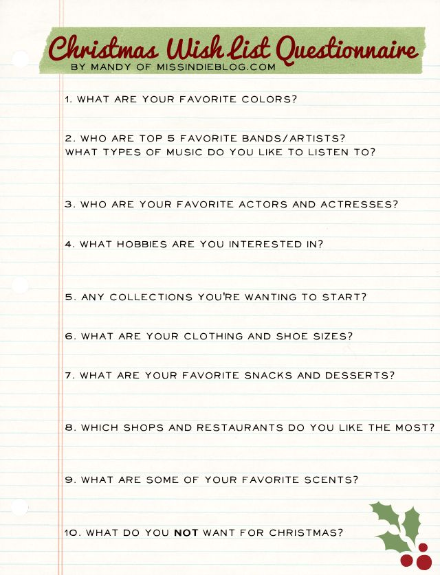 Christmas Wish List Questionnaire! | Christmas | Pinterest ...