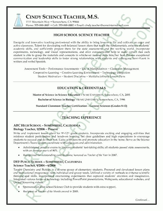 view page two of this science teacher resume sample sample teacher ...