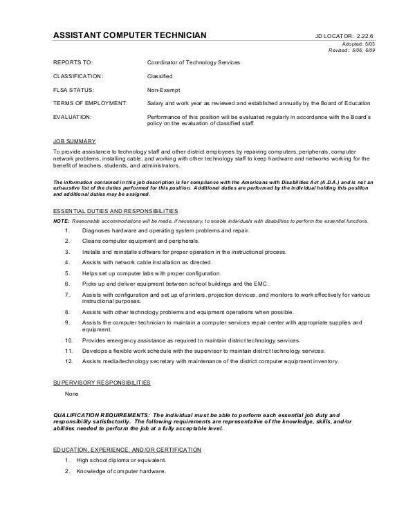 Computer Technician Job Description - 9+ Free PDF Documents ...