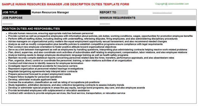 Human Resources Manager Job Description