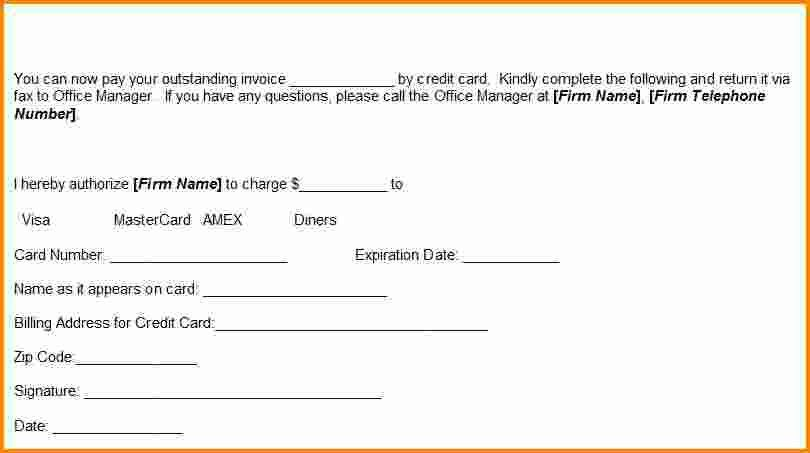 7+ blank credit card authorization form | Authorization Letter
