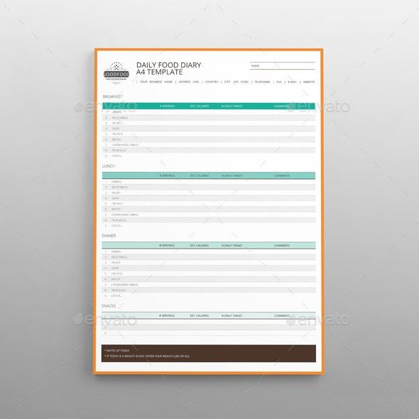 Daily Food Diary A4 Template by Keboto | GraphicRiver