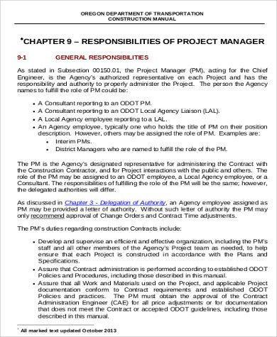 Construction Management Job Description Sample - 8+ Examples in ...