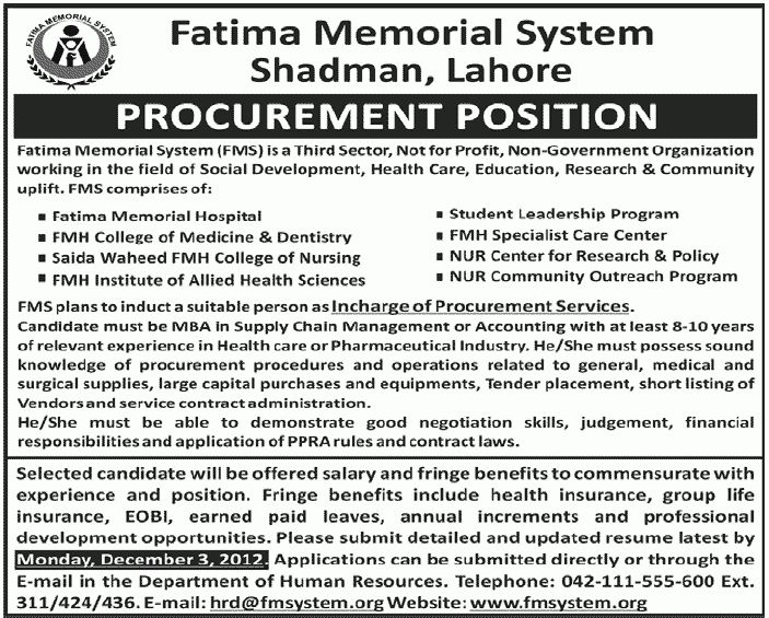 Procurement Position Job, FMS Lahore job, Fatima Memorial System ...