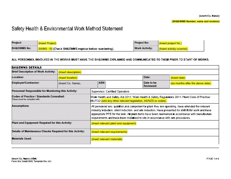 Form 002 - Safe Work Method Statement Template (Word) Slideshow View