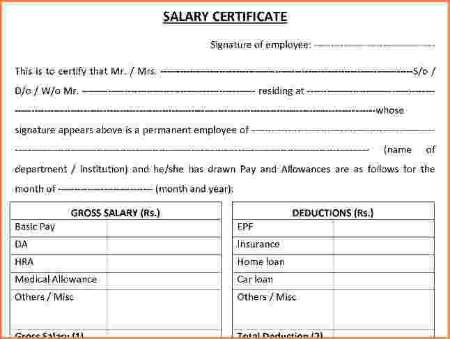 10+ format of salary certificate for bank loan | Simple salary slip
