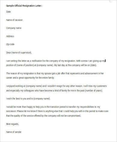 Resignation Letter Sample in Word - 9+ Examples in Word