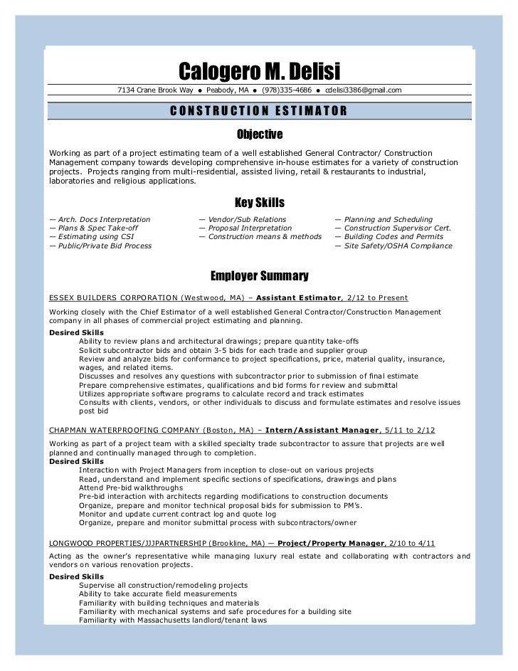 construction estimator resumes free construction estimator resume