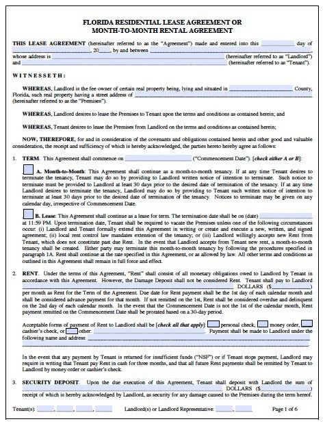 Free Florida Monthly Rental Agreement – PDF – Word