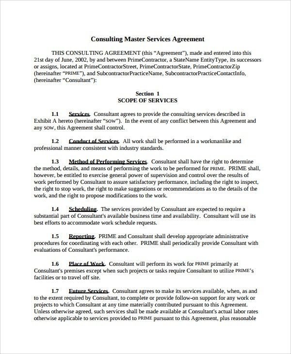 Sample Master Service Agreement. Master Service Agreement - 10+ ...
