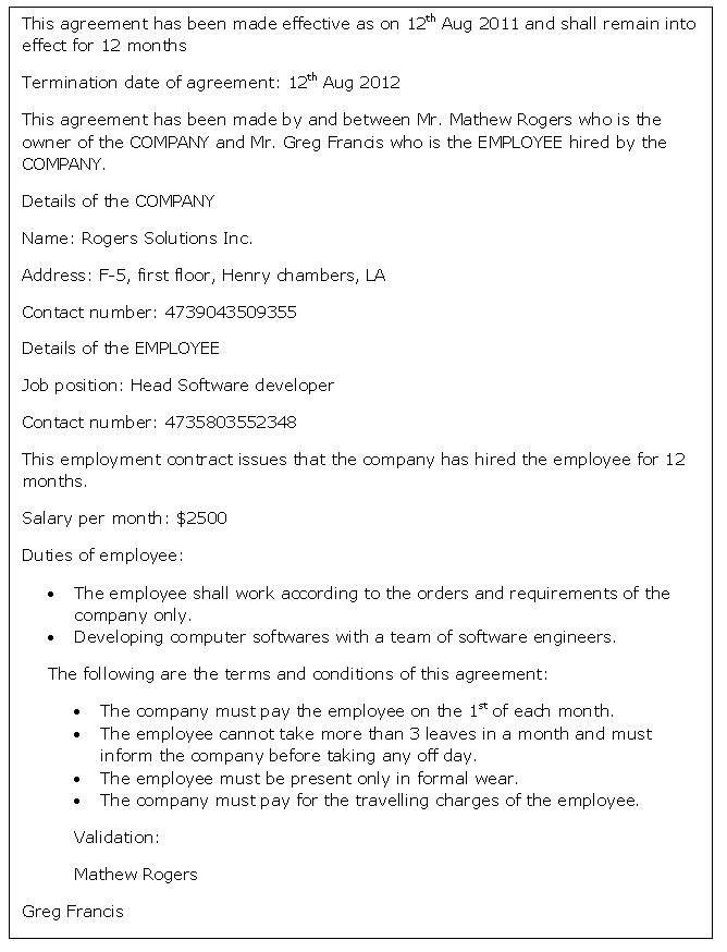 Labour Contract Template. Sample Statement Employment Contract ...
