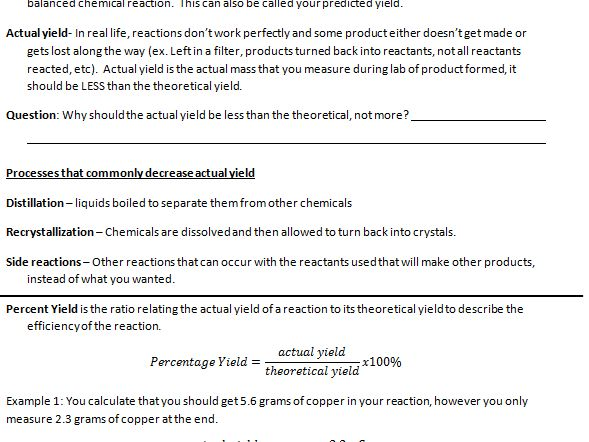 Percent Yield and Stoichiometry Notes and Practice Problems ...