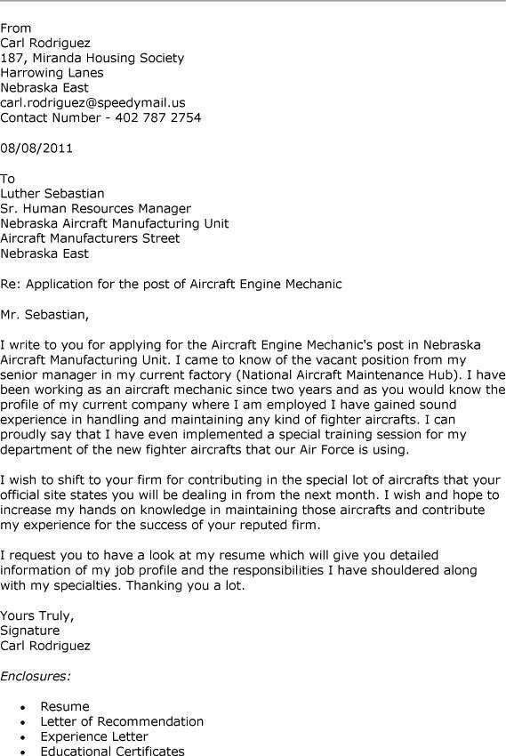 sample aircraft technician cover letter