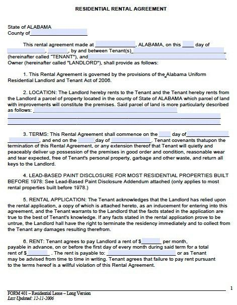 Free Alabama Month to Month Rental Agreement – PDF Template