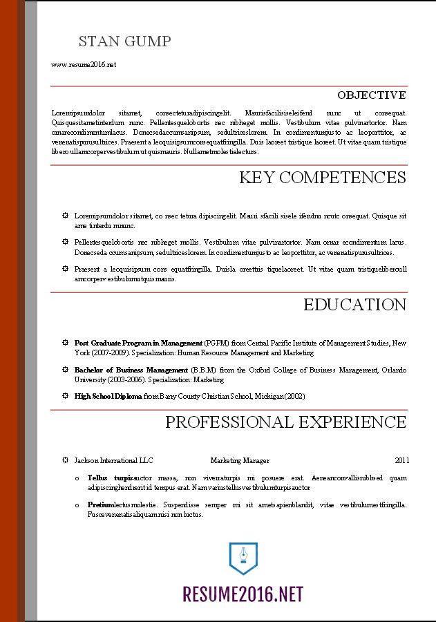 Word Resume Templates 2016 •