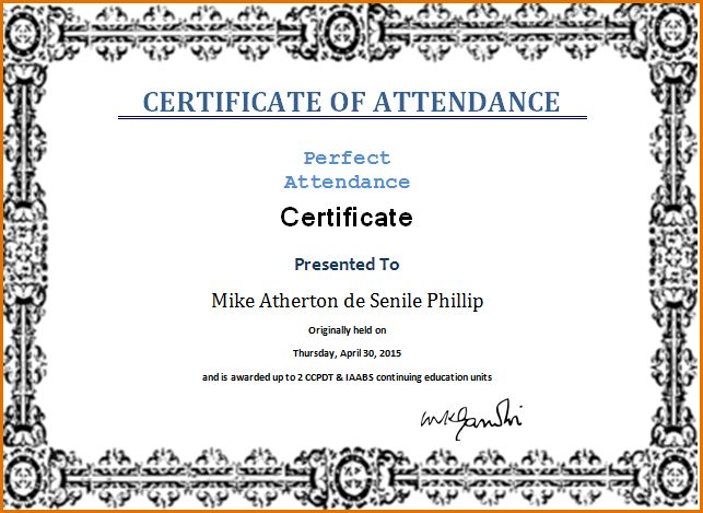 11+ certificate of attendance template | Job Resumes Word