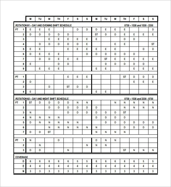 Rotating schedule template free rotation schedule template rotatingrotation shift schedule template 10 free word excel pronofoot35fo Image collections