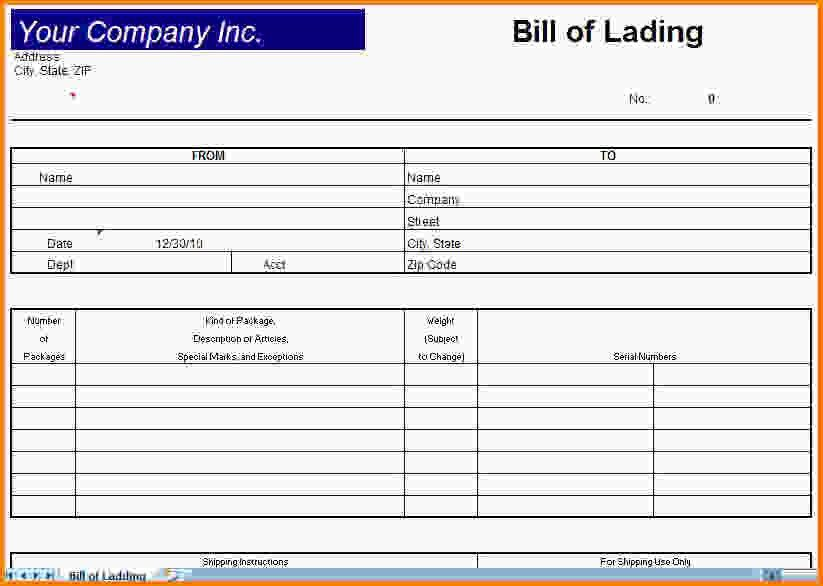 8+ blank bill of lading - LetterHead Template Sample