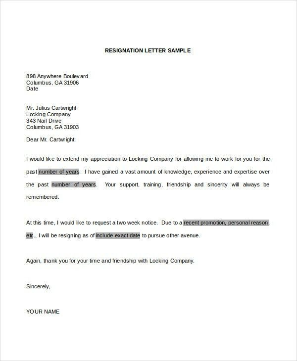 Resignation Letter - 6+ Free Word Documents Download | Free ...