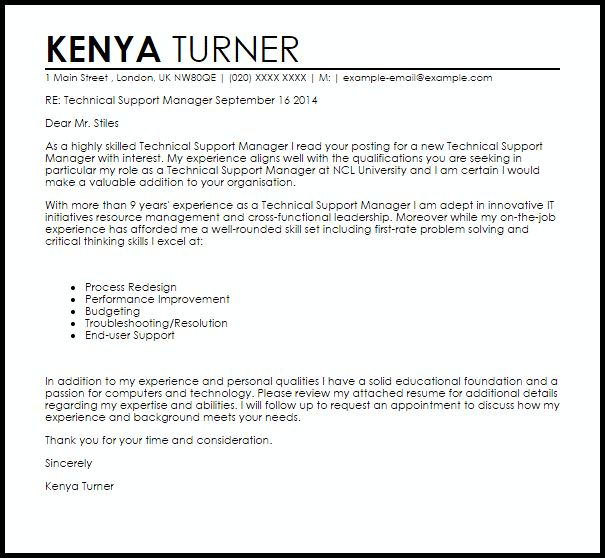 Technical Support Manager Cover Letter Sample | LiveCareer