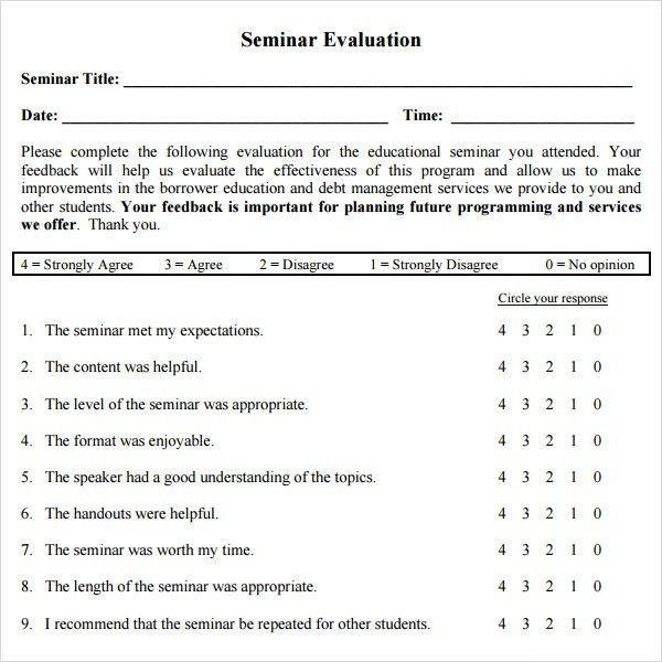 Workshop Evaluation Form - 10+ Free Download In PDF