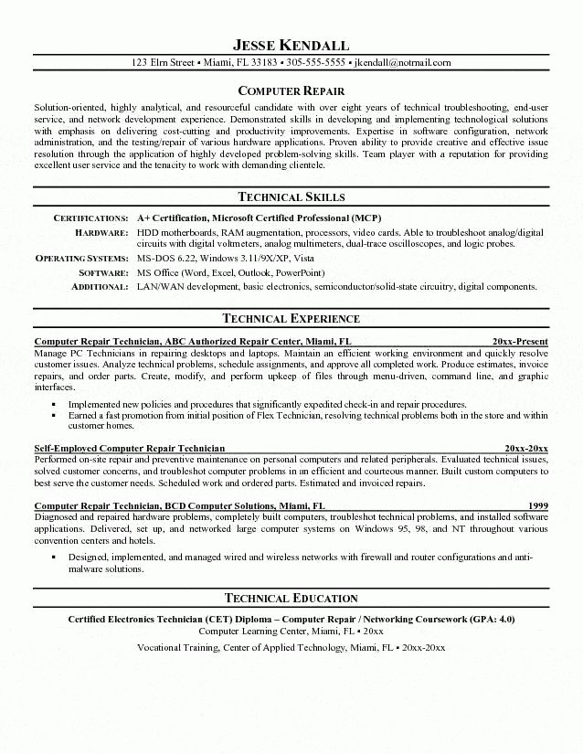 Repair Technician Resume