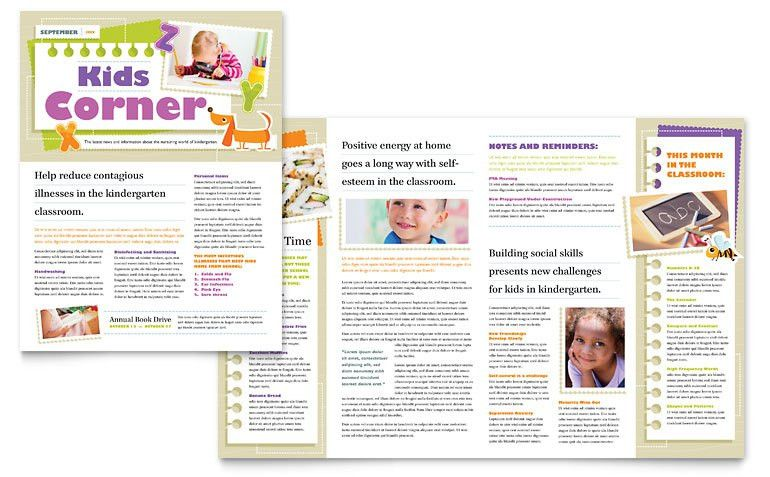 Kindergarten Newsletter Template - Word & Publisher