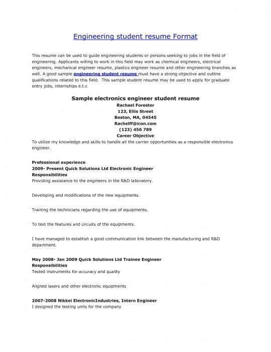 resume formats for engineering students good resume examples for