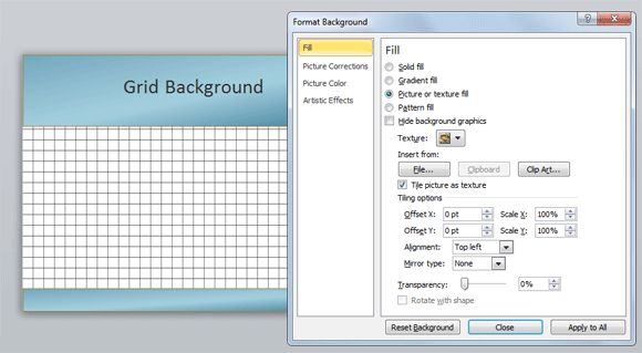 How to create a graph paper background in PowerPoint