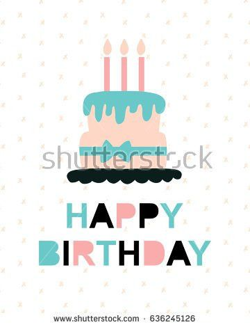 Stylish Happy Birthday Greeting Card Fold Stock Vector 159776501 ...