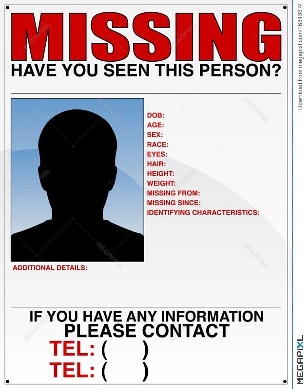 Missing Person Poster Illustration 16343674 - Megapixl