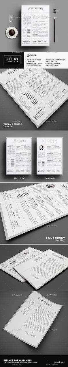 Resume / CV — Photoshop PSD #letter #resume • Available here ...