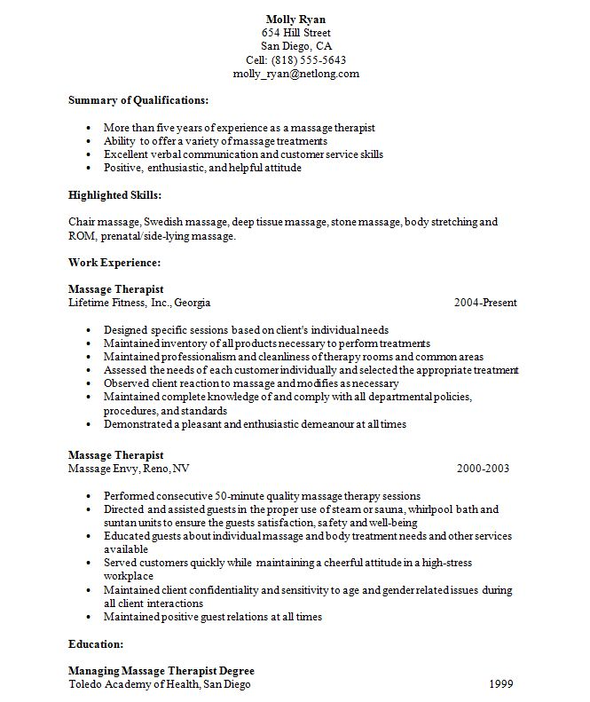 Therapist Resume Samples | Free Resumes Tips
