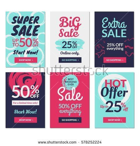 Set Social Media Sale Website Mobile Stock Vector 492825241 ...