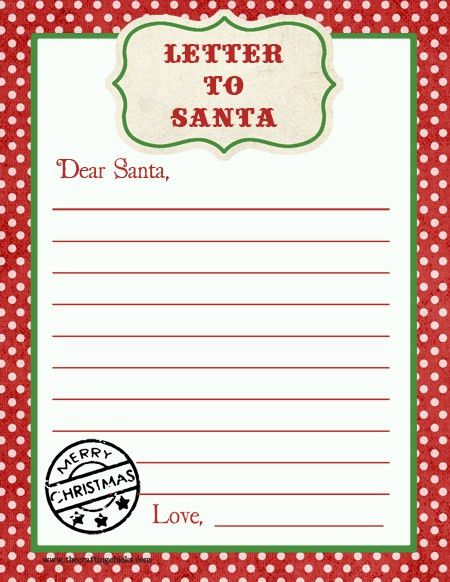 Letter to Santa Free Printable Download | Printable letters, Free ...