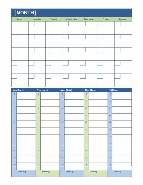 Monthly and weekly planning calendar - Office Templates