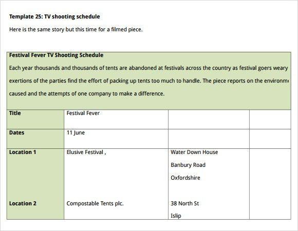 Sample Shooting Schedule - 9+ Documents in PDF, Word, Excel