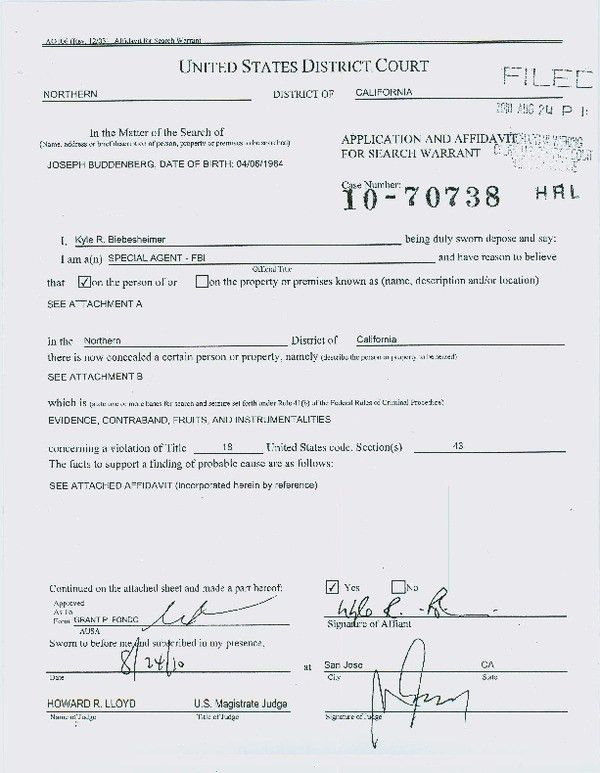 Classic Affidavit Form Sample for Search Warrant with Signature ...