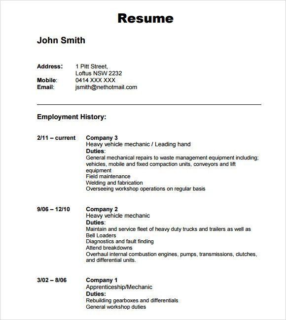 Download Resume #16879