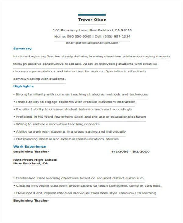 Beginning Teacher Resume Elementary School Teacher Resume Example - beginning teacher resume