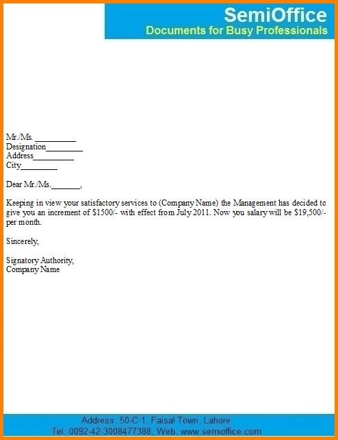 Salary increase notification letter sample for employees college – Merit Increase Letter Template